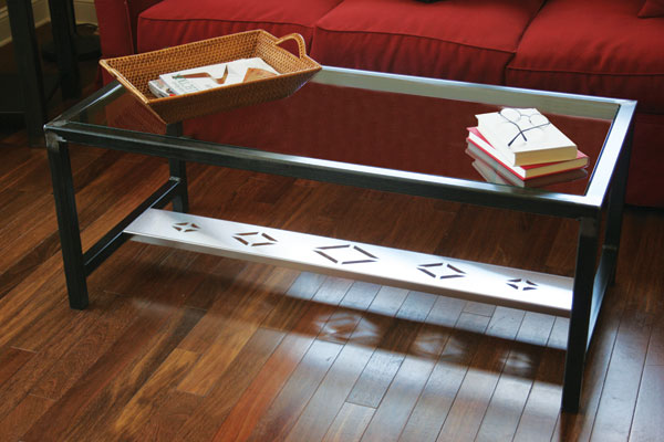 Steel Coffee Table with Diamond Inlay