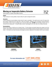 Tech Tip-902: Moving an Inoperable Battery Extractor