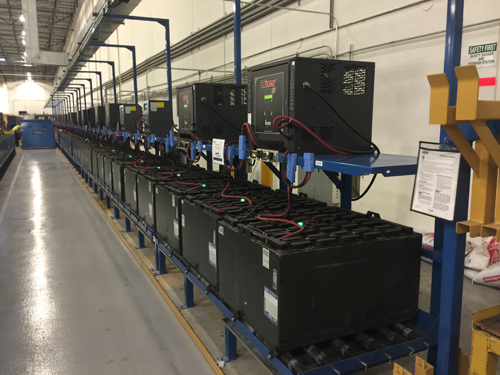 Forklift batteries charging