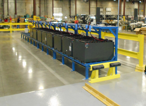 Forklift battery transfer platforms with truck guide rail