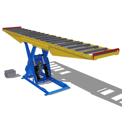 Lift Table large roller conveyor raised