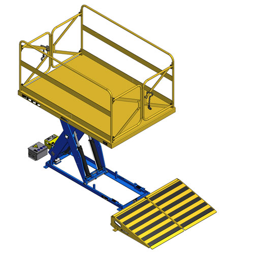 Lift Table with Man-lift and loading ramp raised