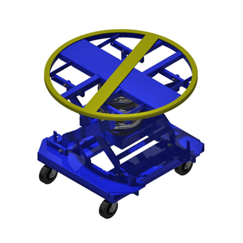 Pneumatic Pallet Carousel and Skid Positioner with Casters