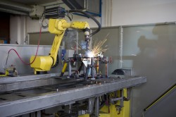 Robotic welding is a manufacturing innovation that increased efficiency.