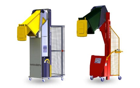 empty heavy containers with Bin Tippers